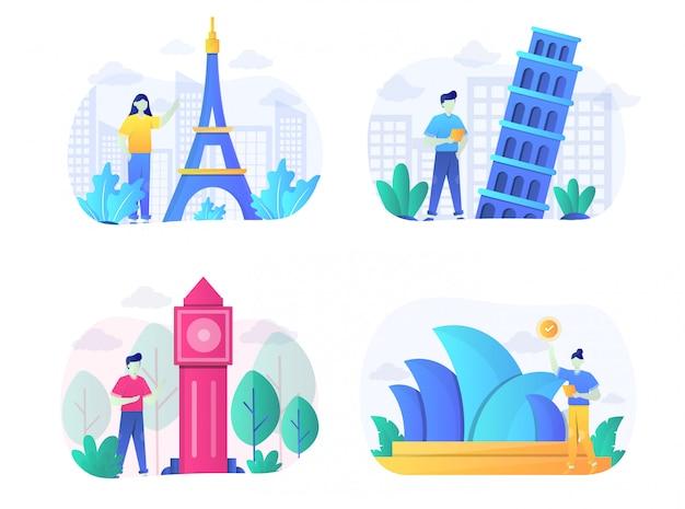 Pack de ilustración de monumentos planos con personaje