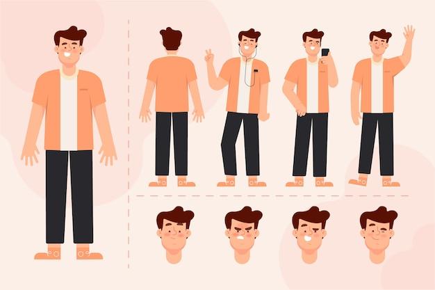 Pack de ilustración de poses de personaje masculino