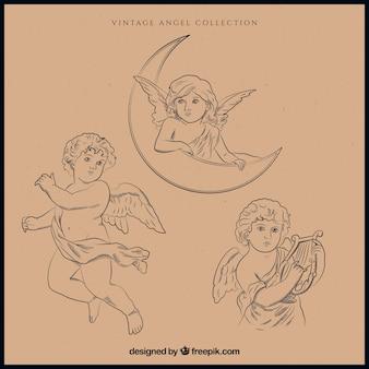 Pack de ilustraciones de ángeles navideños