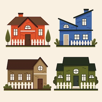 Pack de ilustraciones de casa de diseño plano