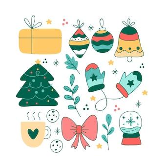 Pack de ilustraciones dibujadas a mano de elementos navideños