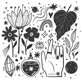 Pack ilustraciones incoloras dibujadas a mano