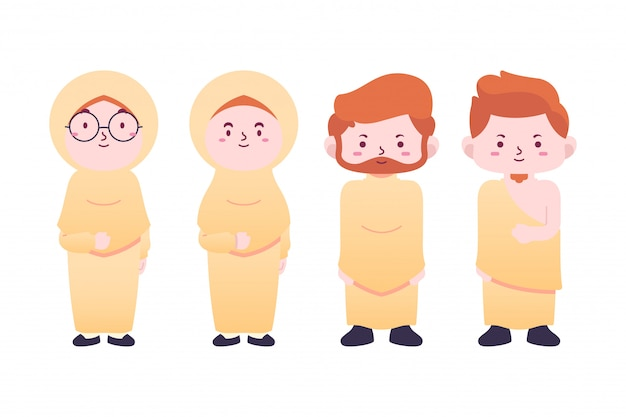 Pack de ilustraciones personajes lindos hajj, tema de peregrinación
