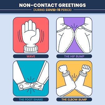 Pack de ilustraciones de saludos sin contacto