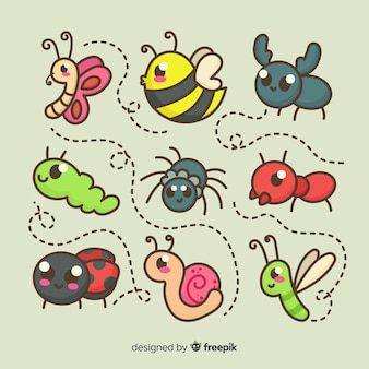 Pack insectos adorables dibujos animados