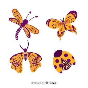 Pack insectos coloridos dibujados a mano