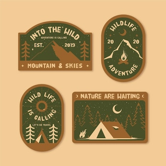 Pack de insignias de camping y aventuras vintage