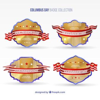 Pack de insignias doradas del día de la hispanidad