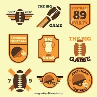 Pack de insignias de fútbol americano planas