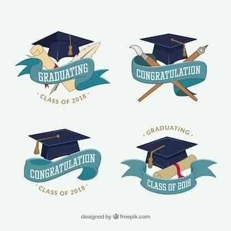 Pack de insignias de graduación en diseño plano
