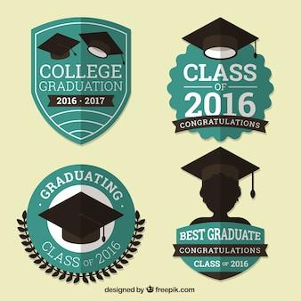 Pack de insignias de graduación vintage en diseño plano