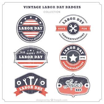 Pack de insignias retro del día del trabajo