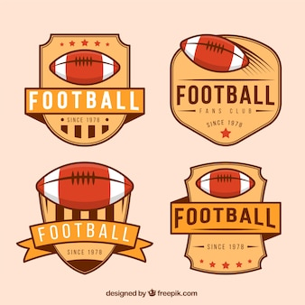 Pack de insignias retro de fútbol americano
