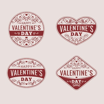 Pack de insignias de san valentín vintage
