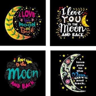 Pack de invitaciones de amor con luna.