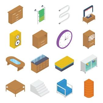 Pack isométrico de muebles e interiores