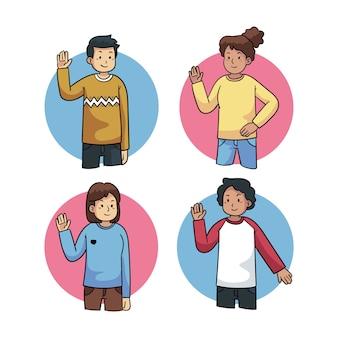 Pack de jóvenes agitando la mano