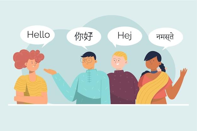 Pack de jóvenes hablando en diferentes idiomas