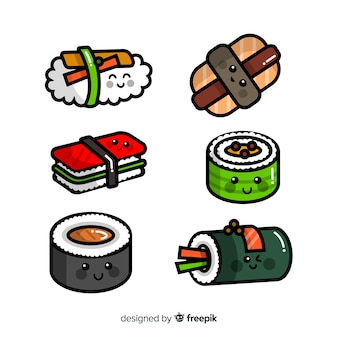 Pack kawaii sushi dibujado a mano