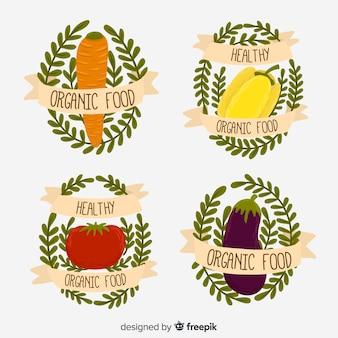 Pack logos dibujados a mano de comida orgánica
