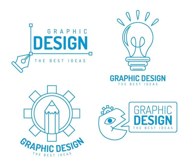 Pack de logos de diseñadores gráficos planos