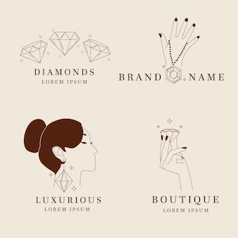 Pack de logos de joyas dibujados a mano