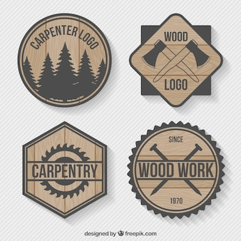 Pack de logos de madera de carpintería
