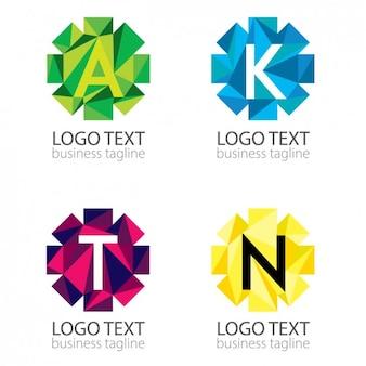 Pack de logos poligonales abstractos