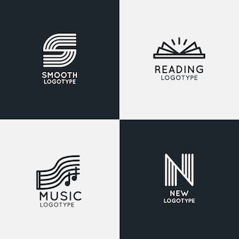 Pack de logotipo lineal abstracto