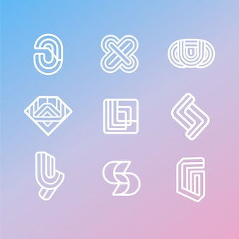 Pack de logotipo lineal de estilo abstracto