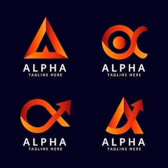 Pack de logotipos alfa de diseño plano