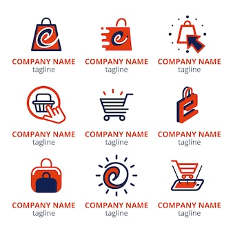 Pack de logotipos de comercio electrónico de diseño plano