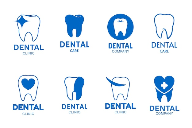 Pack de logotipos dentales de diseño plano