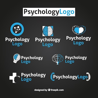 Pack de logotipos de psicología azules y blancos
