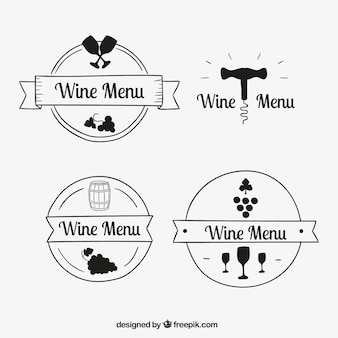 Pack de logotipos de vino dibujados a mano