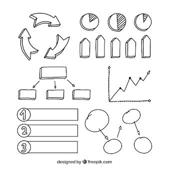 Pack a mano de elementos infográficos