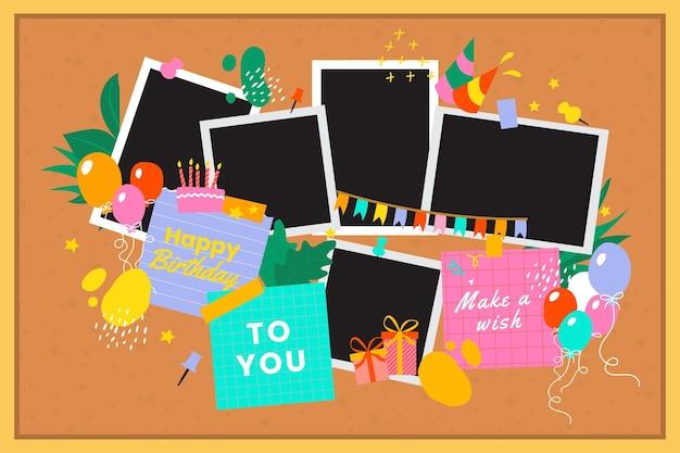Pack de marcos de collage de cumpleaños planos