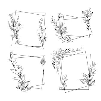 Pack de marcos florales dibujados a mano