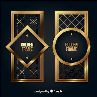 Pack marcos geométricos dorados