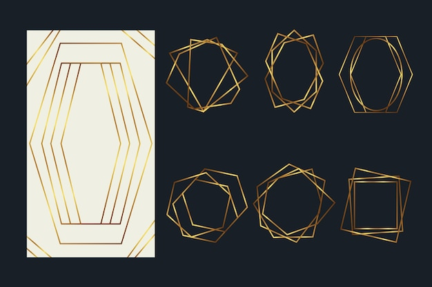 Pack de marcos poligonales dorados