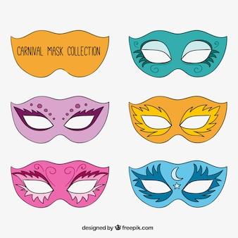 Pack de máscaras de carnaval elegantes dibujadas a mano