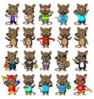 Pack de mascota de dibujos animados lindo del ratón