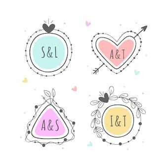 Pack minimalista de monogramas de boda en colores pastel