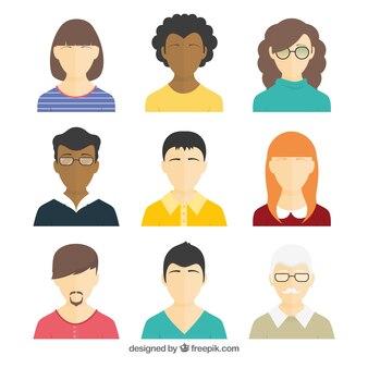 Pack moderno de avatares con diseño plano