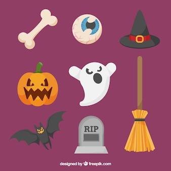 Pack moderno de elementos planos de halloween