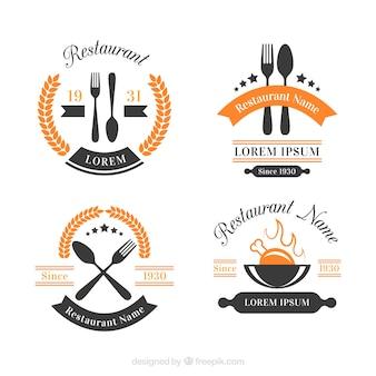 Pack moderno de logos de restaurante con estilo vintage