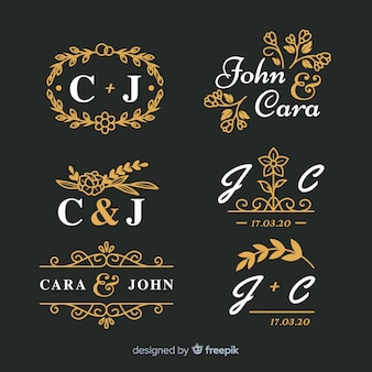 Pack de monograma de boda ornamental hermoso