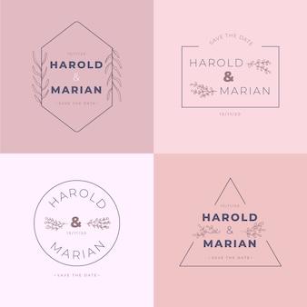 Pack de monogramas de boda minimalistas en colores pastel