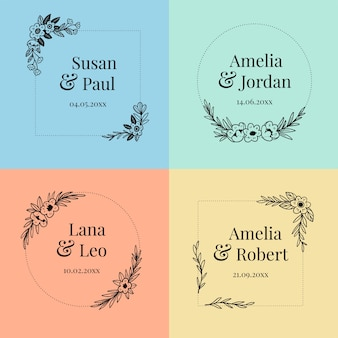 Pack de monogramas florales de boda