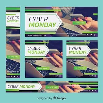 Pack muestra banner fotográfico líneas cyber monday